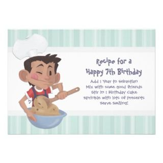 Boys Cooking Birthday Party Personalized Invitation