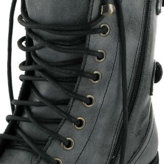 NEW WOMENS BLACK MILITARY COMBAT ANKLE BOOTS SIZE 3 UK