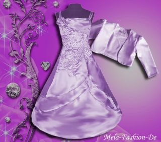 MelaFashion Design Festkleid Barbara helles flieder 116/122 + Bolero