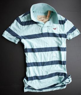 Hollister% by %Abercrombie%Fitch% blue stripe Polo Shirt hemd rugby T