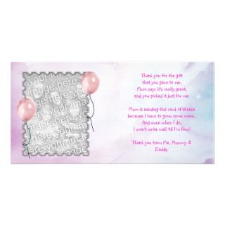 Pink sky Thank You Card baby girl Picture Card