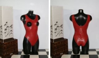 Latex Gummi Rubber Body Suit Catsuit Gummianzug Ouvert Rot S XL von