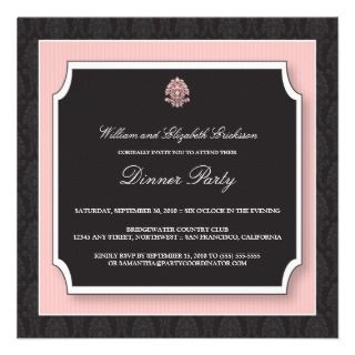 Elegant Damask Dinner Party Invitation (pink)