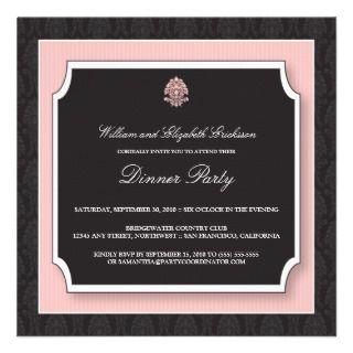 Elegant Damask Dinner Party Invitation (pink)