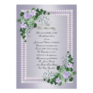 Wedding anniversary vow renewal White roses Personalized Invitation