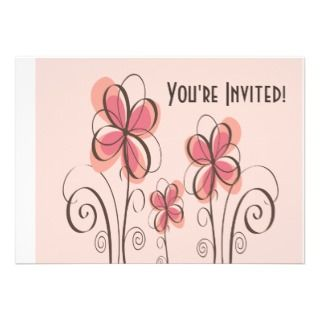 Pink & Brown Doodle Flowers Design Invitation