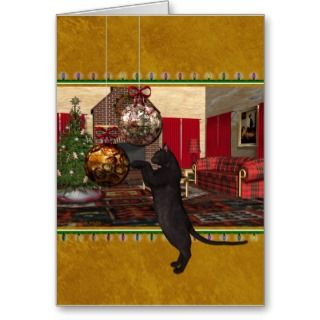 Black Cat and Ornaments   Merry Christmas Greeting Card