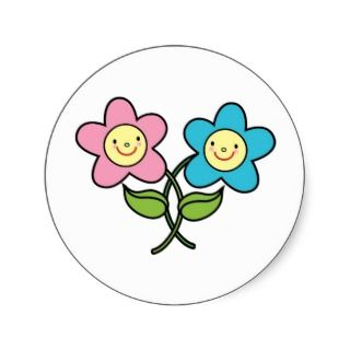 Intertwined Boy and Girl Flowers Round Stickers
