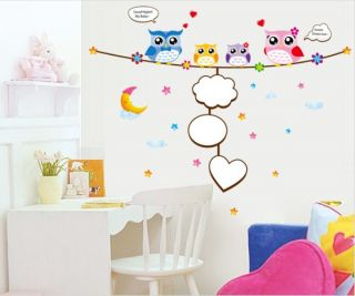 New Baby love Cute Four Owls & Moon& Star Nursery Room Wall sticker