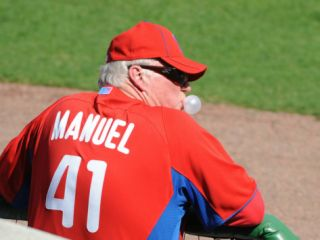Florida Seminoles v Philadelphia Phillies, CLEARWATER, FL   FEBRUARY 24: Charlie Manuel Photographic Print by Al Messerschmidt
