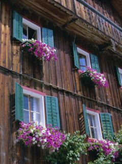 Wooden Chalet with Flowers, Hallstatt, Austria, ope Photographic Print by Jean Brooks