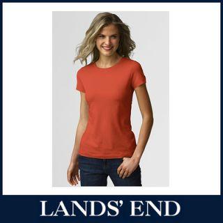 LANDS END Damen T Shirt Shirt Kurzarm Rundhals Baumwolle Viskose