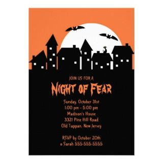 Night of Fear Haunted House Halloween Party Personalized Announcements