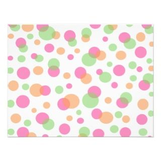 Pink orange and green polka dots custom invitations