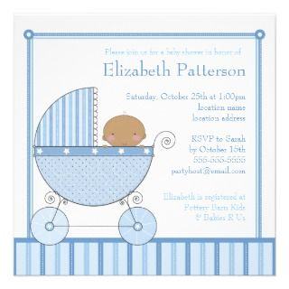 Ethnic Baby Boy in Carriage Baby Shower in Blue Announcement
