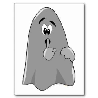 Shh Cartoon Ghost Cute Secret Halloween Postcard