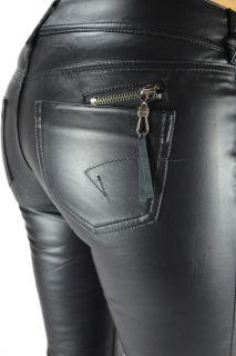 Damen Hose Kunst Lederhose Straight Leg Jeans schwarz Leder Optik