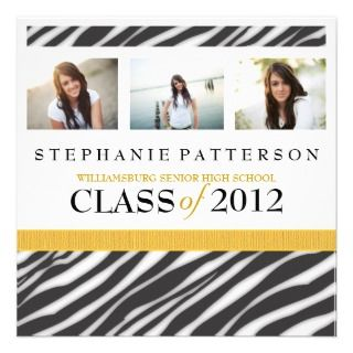 Glamour Girl Zebra Print with Gold Announcements