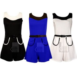 Damen Hosenanzug Jumpsuit Overall Shorts Taschen Gürtel Frauen Gr 36