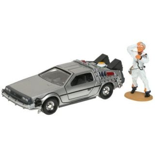 Corgi Zurueck in die Zukunft Delorean Tim Machine Auto Doc Brown Figur