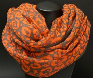154 Neu Damen Mode Luxus Loop Neon Orange Schlauch Rund Schal