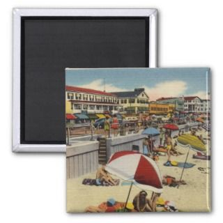 New Hampshire ~ Hampton Beach Boardwalk Vintage Refrigerator Magnet