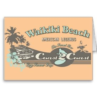 Waikiki Beach Honolulu Hawaii Card