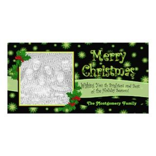 Green Stars and Holly Christmas Photocards Custom Photo Card