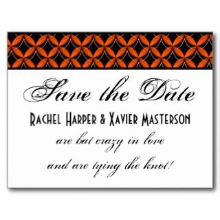 Uptown Glam Halloween Save the Date Postcard