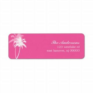 Palm Trees Tropical Beach Wedding Return Address Label
