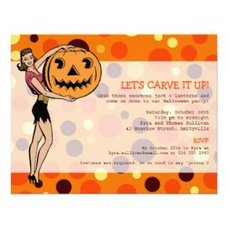 Retro Halloween Pin Up Party Custom Announcement