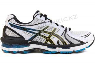 Asics Gel Kayano 18 T201N 0190 Men 2E White Blue Running Cross