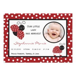 señora Bug Photo Birth Announcement del rojo carme Invitaciones