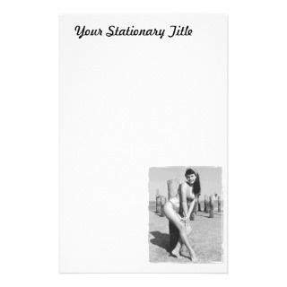 Bettie Page Vintage Bikini Pinup At The Beach Customized Stationery