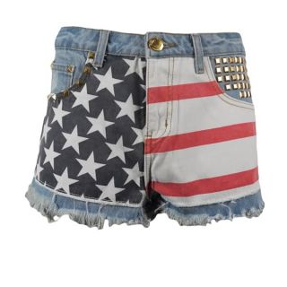 WOMENS LADIES USA AMERICAN FLAG Studded ZERSTÖRT HOT PANTS JEANS
