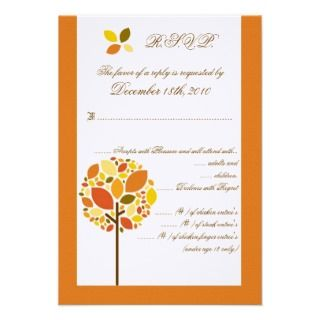 5x5 Pocketfold R.S.V.P. Card Modern Autumn Tree Custom Invites