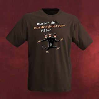 Cooles Monkey Island   Dreiköpfiger Affe Gamer Retro T Shirt, großer