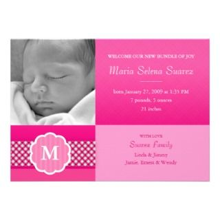 can customize this pink baby girl announcement girl photo announcement