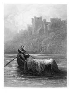 Body of Elaine on Way to King Arthurs Palace, Illustration, Idylls of King by Alfred Tennyson Giclee Print by Gustave Dore