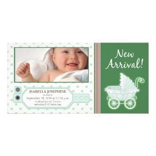 Hospital ID Tag Baby Birth Announcement green Photo Card