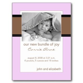 Baby Birth Announcement Chocolate Brown and Pink Postcards