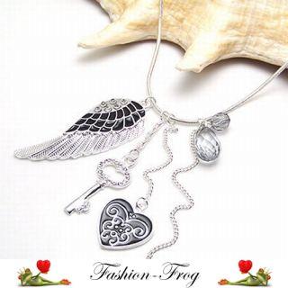 Halskette Kette Engel Flügel Schlüssel Herz Strass grau