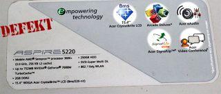 Acer Aspire 5220 ICW50 AMD Sempron 3600+ Notebook defekt für Bastler