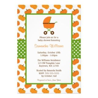 Pumpkin Baby Carriage Shower Invitation