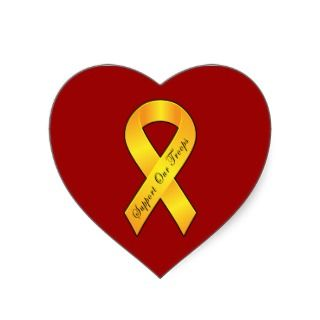 Support our Troops   Yellow Ribbon Heart Stickers