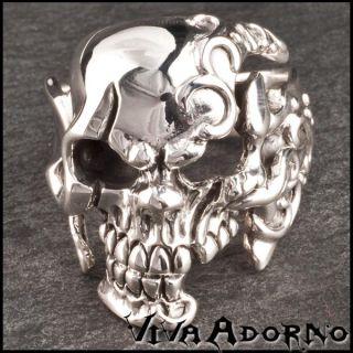 925 Silber Ring Totenkopf Skull Pirat Biker Gothic Rock Daumenring