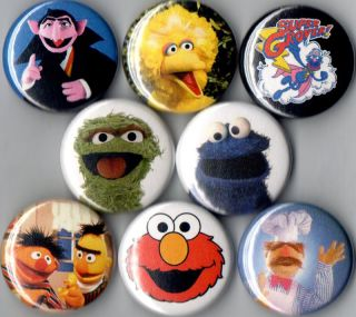 Sesame Street 8 pin buttons badges elmo big bird st new