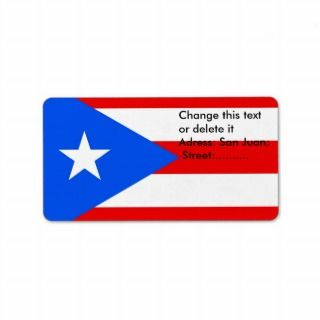 Custom Label with Flag of Puerto Rico, U.S.A.