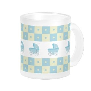 Blue and Yellow Baby Carriage Frosted Glass Mug
