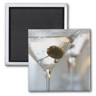 cocktail with olive poster print refrigerator magnets